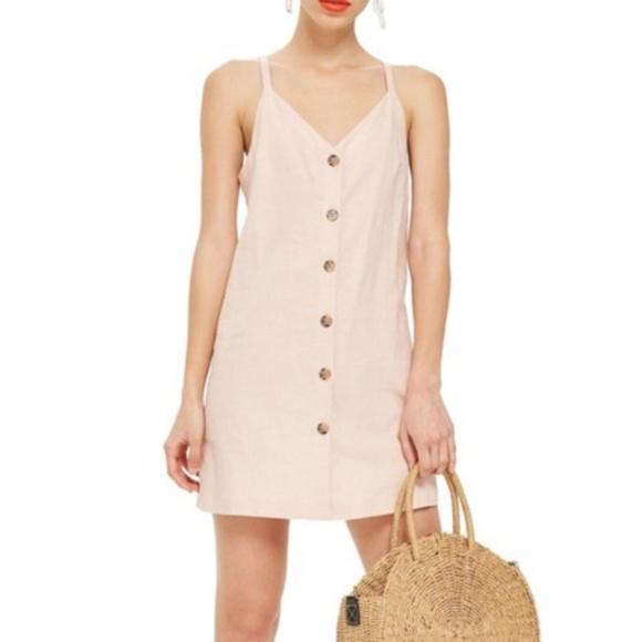 87338e14d69 TopShop Mini Slip Dress Button Down Sundress Linen